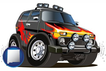 a custom automobile paint job - with New Mexico icon